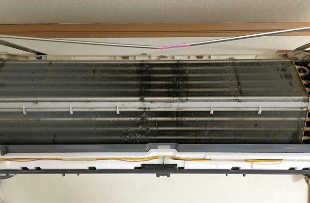 [point1]家庭ではエアコン内部清掃ができません。